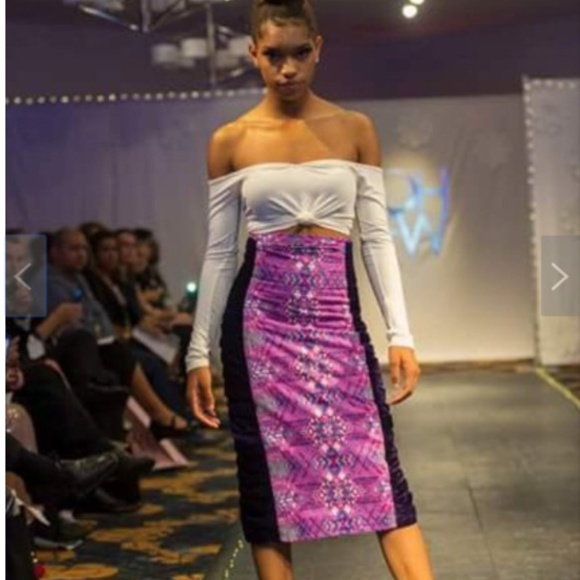 CHIMU Dresses & Skirts - Ankara Pencil Skirt With Crushed Velvet Sides